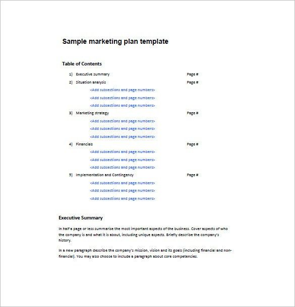 One Page Marketing Plan Template – 12+ Free Word, Excel, PDF ...