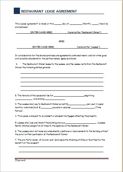 Restaurant Lease Contract Sample for WORD | Document Templates