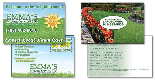 Landscaping Lawn Care Business Cards Door Hangers Postcards Web ...