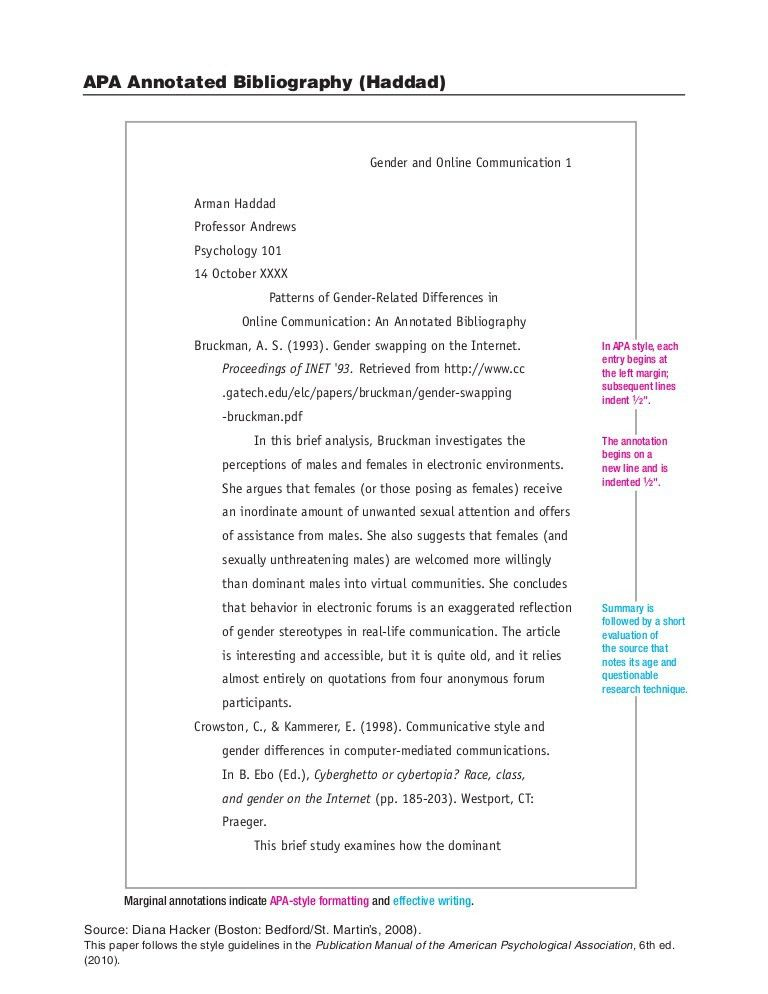 Diana Hacker Example - APA Annotated Bibliography