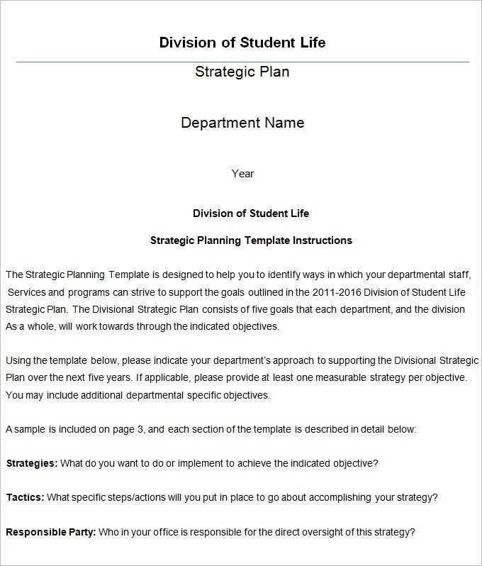 Strategic Life Plan Template - 5+ Free Word,PDF Documents Download ...