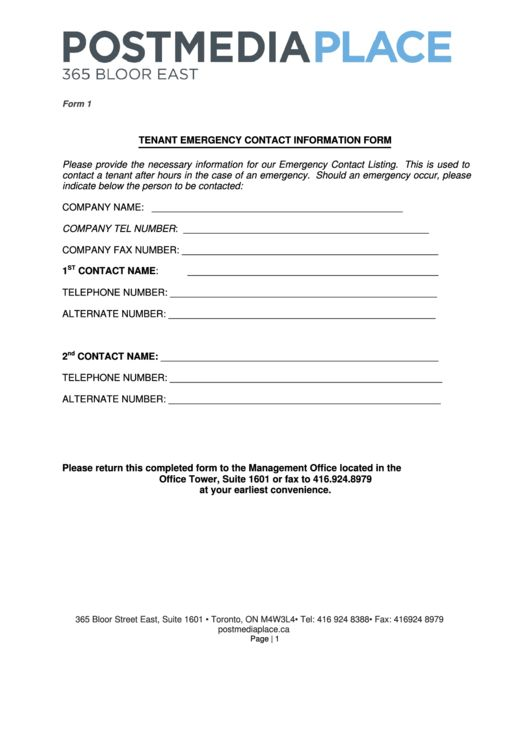 Top 7 Tenant Contact Information Form Templates free to download ...