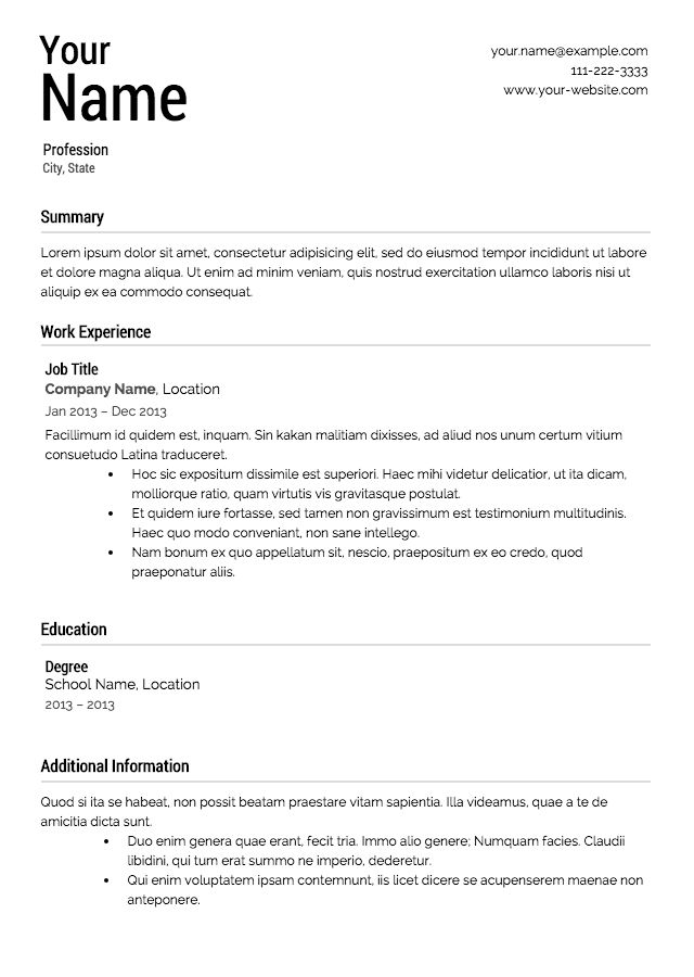 Resume Examples. Simple Clean Career Ecperience Professional Work ...
