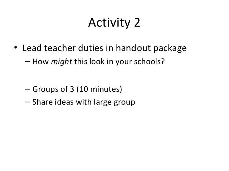 Lead Teacher Meeting Fall 2012