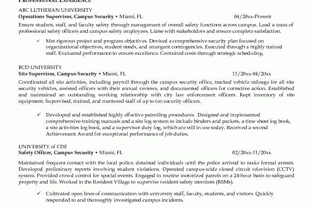 security guard resume job campus - Writing Resume Sample | Writing ...