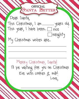 Free Printable Santa Wish List Letters | Deal Wise Mommy | Coupons ...