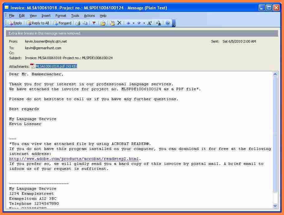 Download Email Invoice Example | rabitah.net