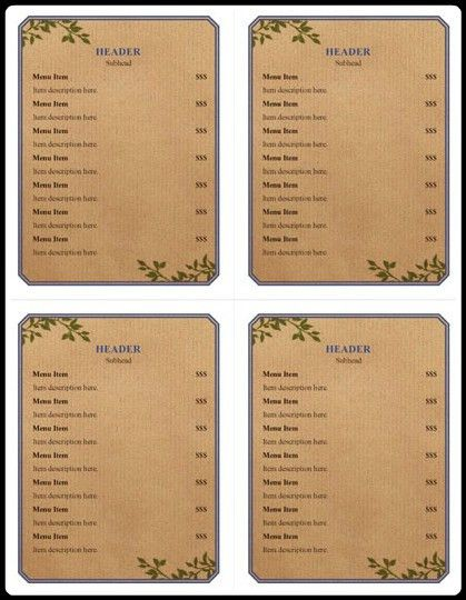 Menu Examples – 5+ Free Printable Word, PDF, Open Office Templates