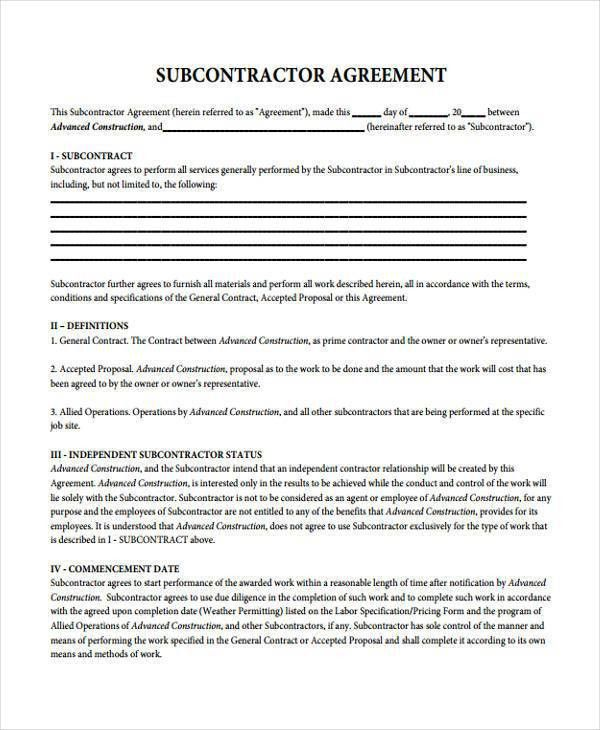 Sample Subcontractor Contract Forms - 7+ Free Documents in Word, PDF