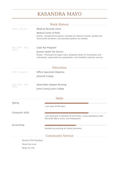 Medical Records Clerk Resume samples - VisualCV resume samples ...