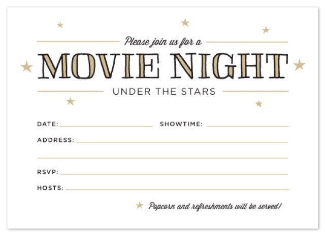Printable: Outdoor Movie Night Invitations | Movie night ...