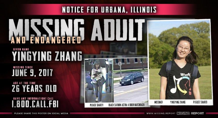 MISSING PERSON • Yingying Zhang • Urbana, Illinois • 26 Years Old
