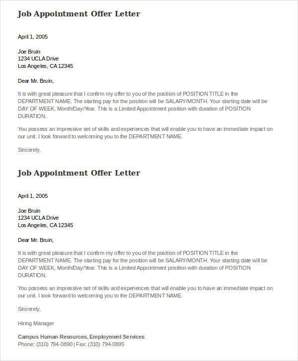 Job Appointment Letter In Word Format | Professional resumes ...
