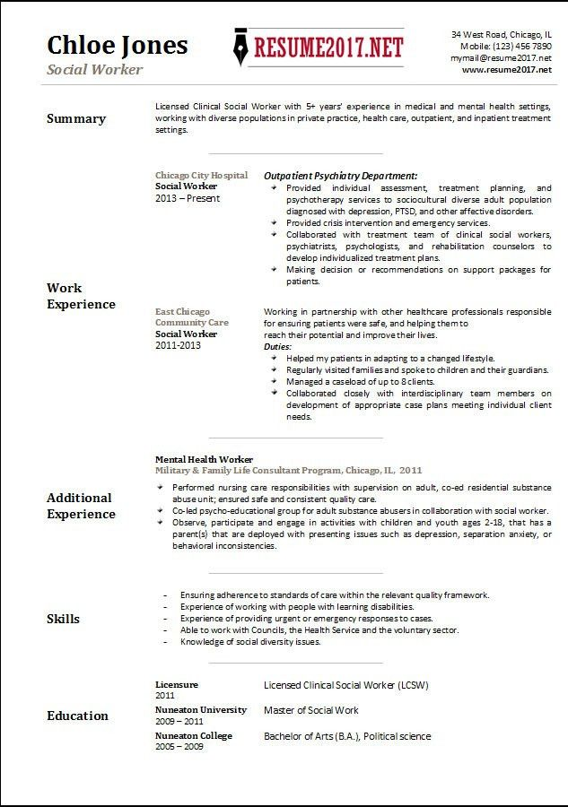 Social Worker resume template 2017 •