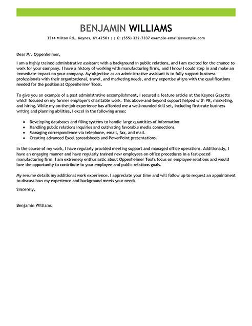 Sample letters for administrative assistant cover letter