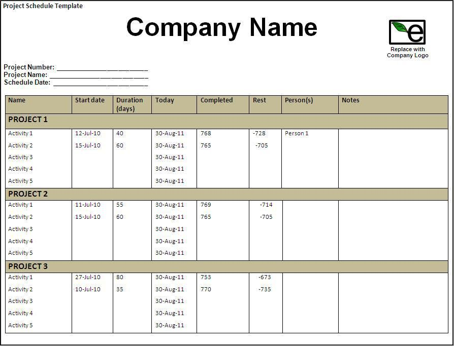 Project Schedule Template - Word Excel Formats
