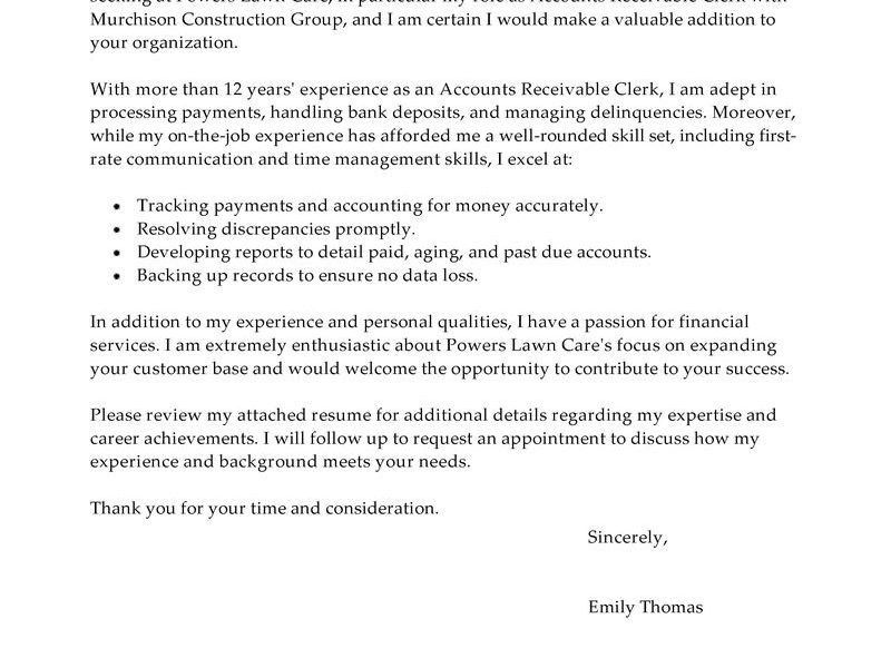 account payable associate cover letter