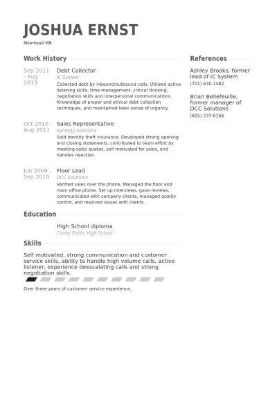 Debt Collector Resume samples - VisualCV resume samples database