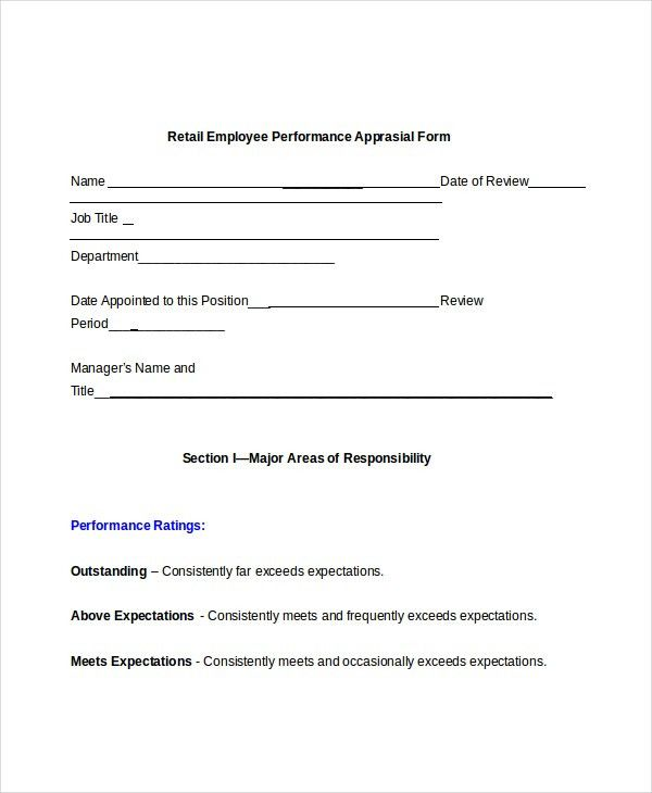 Sample Retail Appraisal Forms - 8+ Free Documents in PDF, Doc