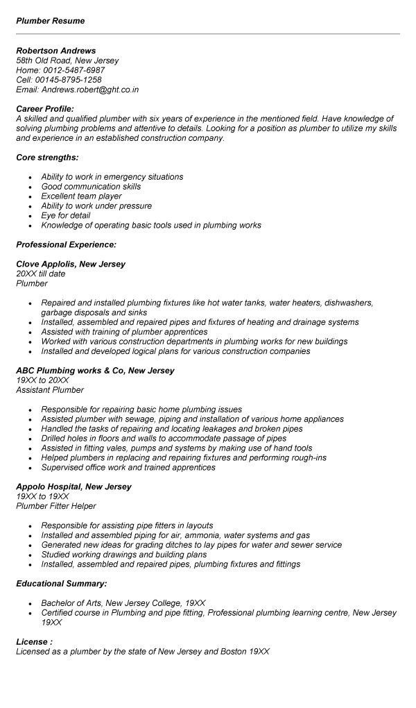 Download Plumbing Resume | haadyaooverbayresort.com