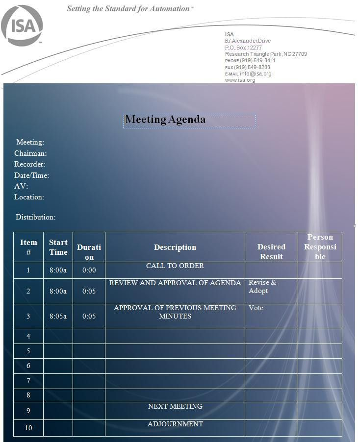 agenda Template | Graphics and Templates