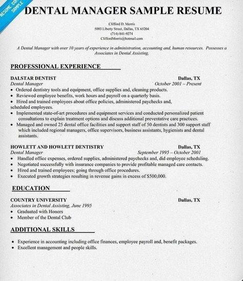Dental Office Manager Resume Sample | jennywashere.com