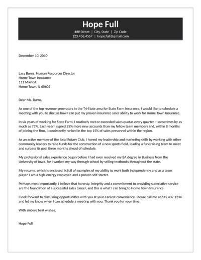 Agent Cover Letter