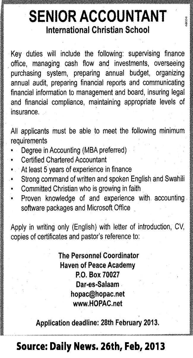 Senior Accountant | TAYOA Employment Portal