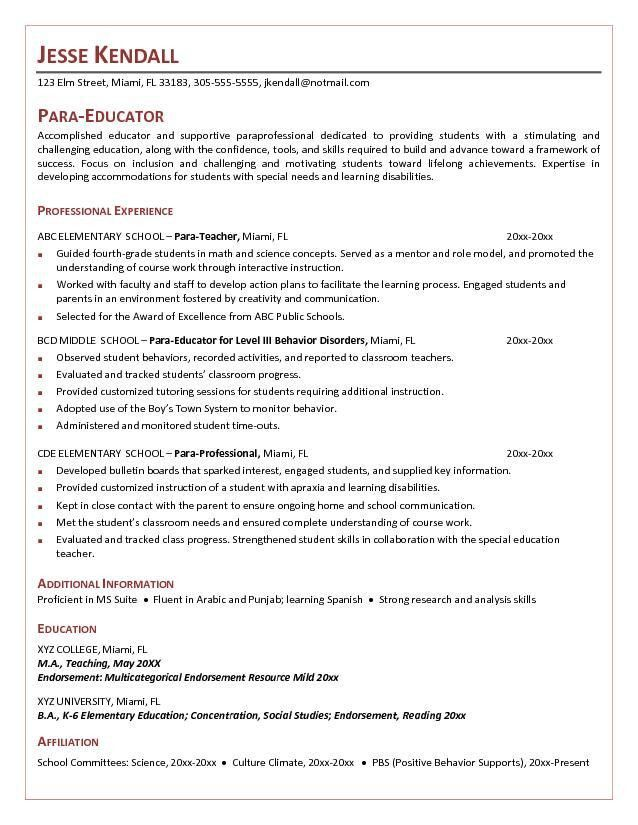 Impressive Design Ideas Paraprofessional Resume 14 Teacher Aide ...