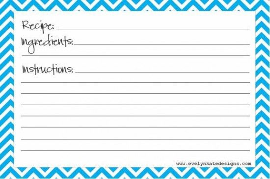 Printable Blank Recipe Card | Cleaning and Getting Organized ...