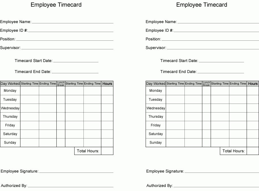 Free Time Card Template | Printable employee time card ...
