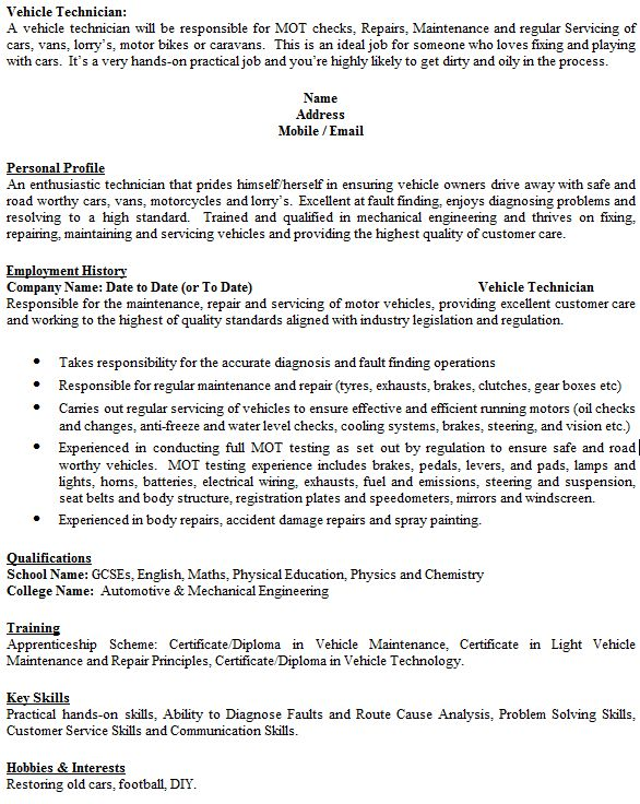 Vehicle Technician CV Example - icover.org.uk