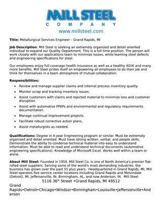 Metallurgical Services Engineer Job Description by Mill Steel ...