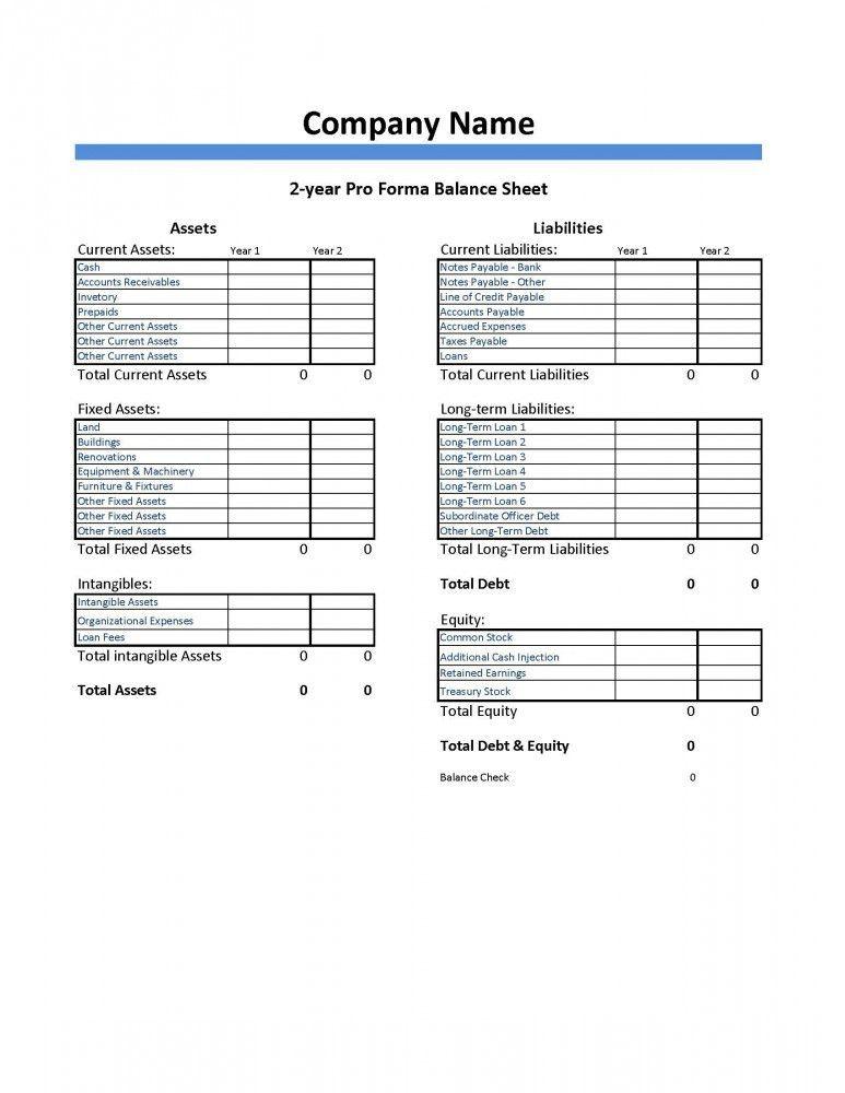 Pro Forma Balance Sheet Template – Dumbing It Down