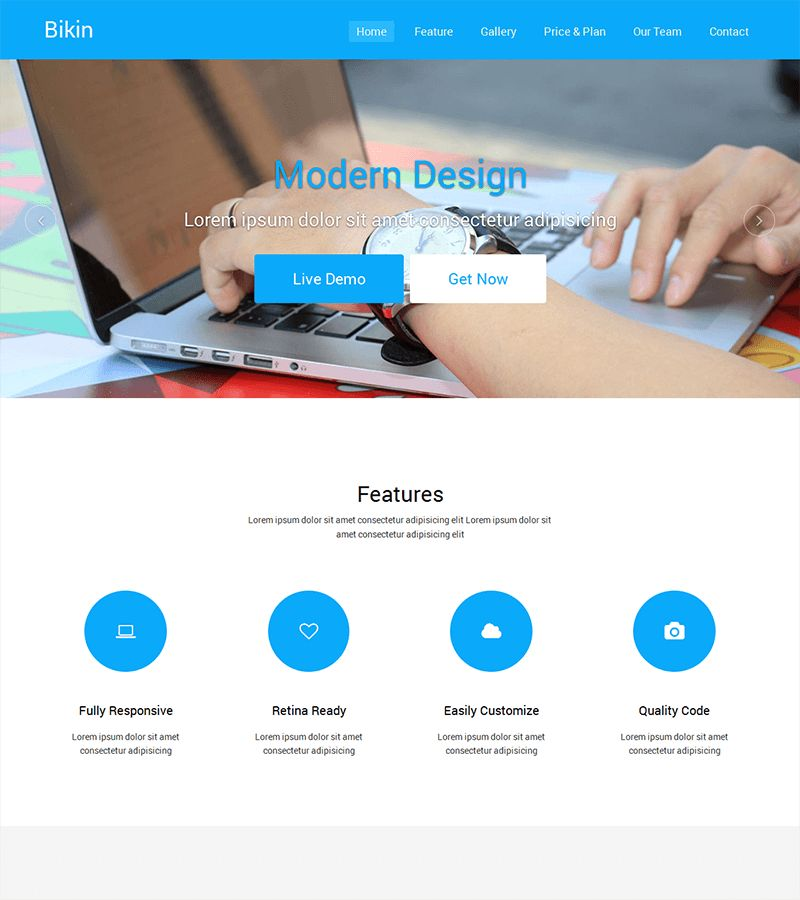 Bikin – Free Simple Landing Page Template | BootstrapTaste