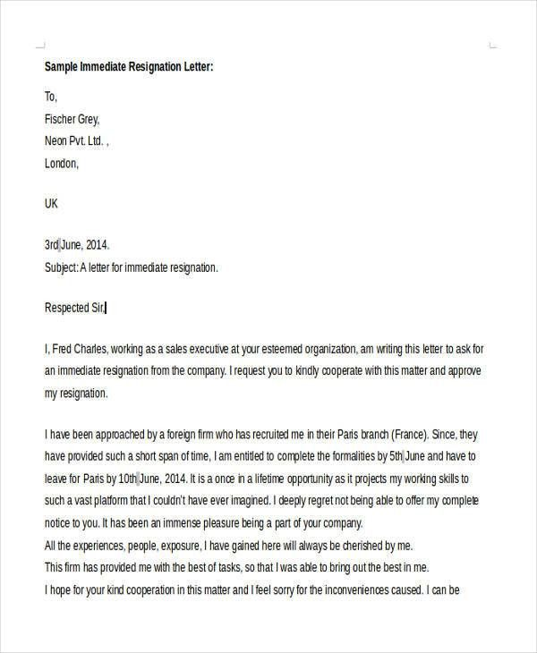 how to write an immediate resignation letter