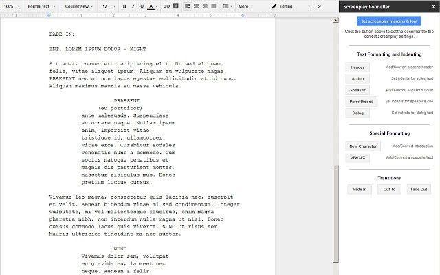 Screenplay Formatter - Google Docs add-on
