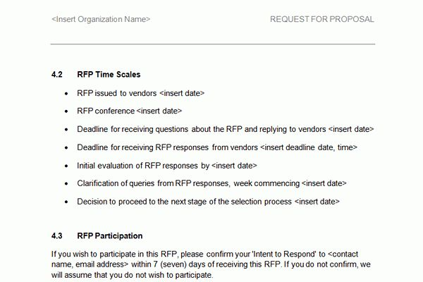 Screen shots of Accounting RFI/RFP Template