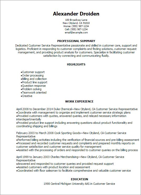 Professional Customer Service Representative Resume Templates to ...