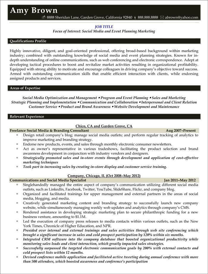 Media Resume Examples - Resume Professional Writers