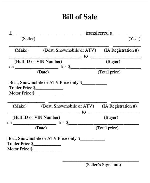 Sample Boat Bill of Sale - 7+ Examples in PDF