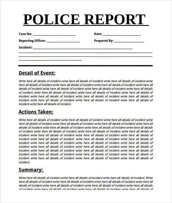 Sample Summary Report Template. Police Summary Report Template ...