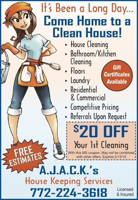 Coupons for A.J.A.C.K.'s House Keeping Services | My Living Magazines
