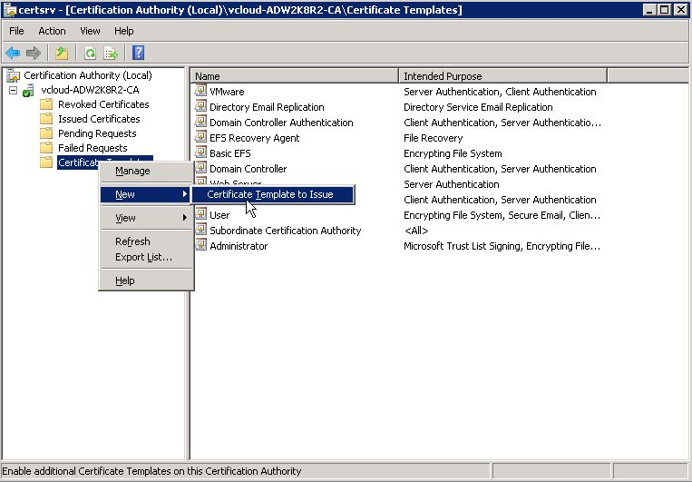 Creating Microsoft CA templates for certificates in vSphere 6.0