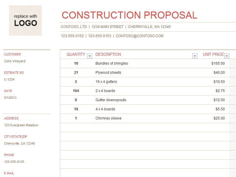 Construction proposal - Office Templates