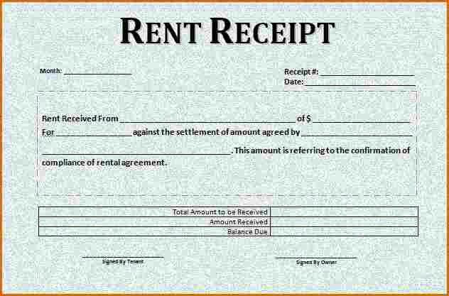 6+ rent receipt template word   Authorizationletters.org