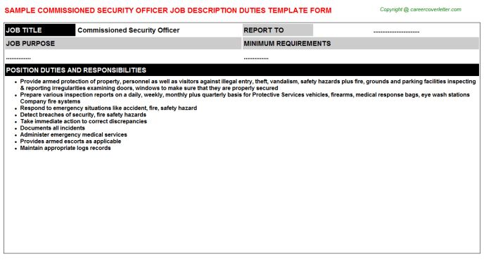 Upscale Security Officer Job Descriptions