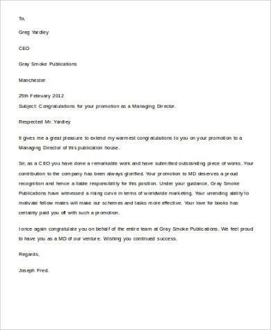 Sample Congratulation Letter - 11+ Examples in Word, PDF