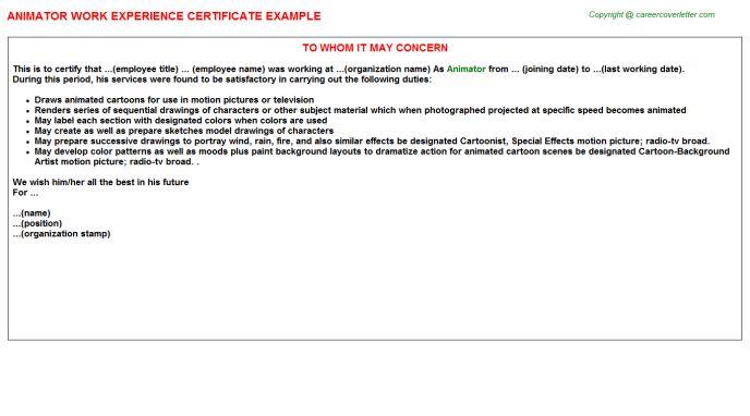 Animator Work Experience Certificate