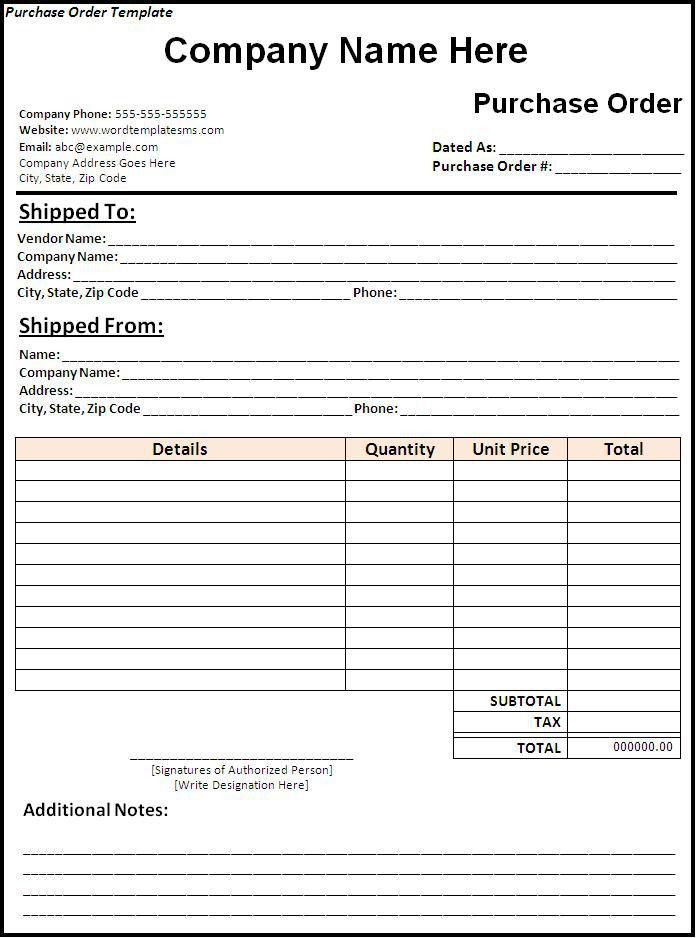 Purchase Order Template Download Page | Word Excel Formats